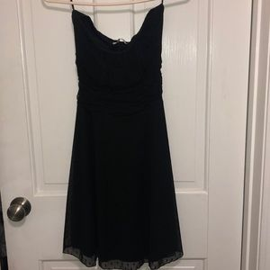 Black strapless polka dot sheer outer layer dress